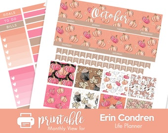Printable Planner Stickers October Monthly View! Autumn Pumpkins Theme for Fall! w/ Cut Files! For use with Erin Condren!