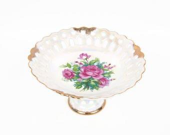 Vintage Pedestal Cake Plate Reticulated Compote Iridescent Pink Roses Porcelain Bowl Japan Brushed Gold Trim Candy Dish Scalloped Edges