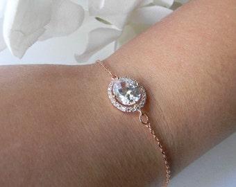 Rose Gold Bridesmaid Bracelet / Rose Gold Bracelet / Wedding Bracelet / Rose Gold Wedding Jewelry / Rose Gold Bridesmaids Gift /Gift