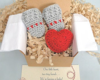 Pregnancy Announcement,  Pregnancy Reveal, Grandparents, Daddy,  MITTENS IN A BOX®, Baby Mittens and Puffy Heart, Baby Shower Gift, New Baby
