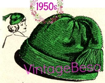 Cap Crochet Pattern • Vintage 1950s Cap with Tassel Hat CROCHET Pattern • Hat Pattern • 1950s Hat Pattern • PDF Instant Download