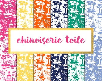 Chinoiserie Toile Digital Paper Pack (Instant Download) chinoiserie, willow, bamboo, fretwork, asian, palm beach, toile
