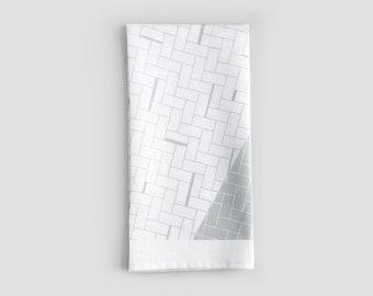 White and Grey Geometric Pattern Tea Towel   Eco Friendly Linen Towel   Kitchen Hand Towel   Modern Home Decor   Housewarming Gift
