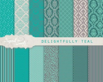 Delightfully Teal - Digital Paper Pack for card making, invitations, printed products, scrapbooking, commercial use, instant download