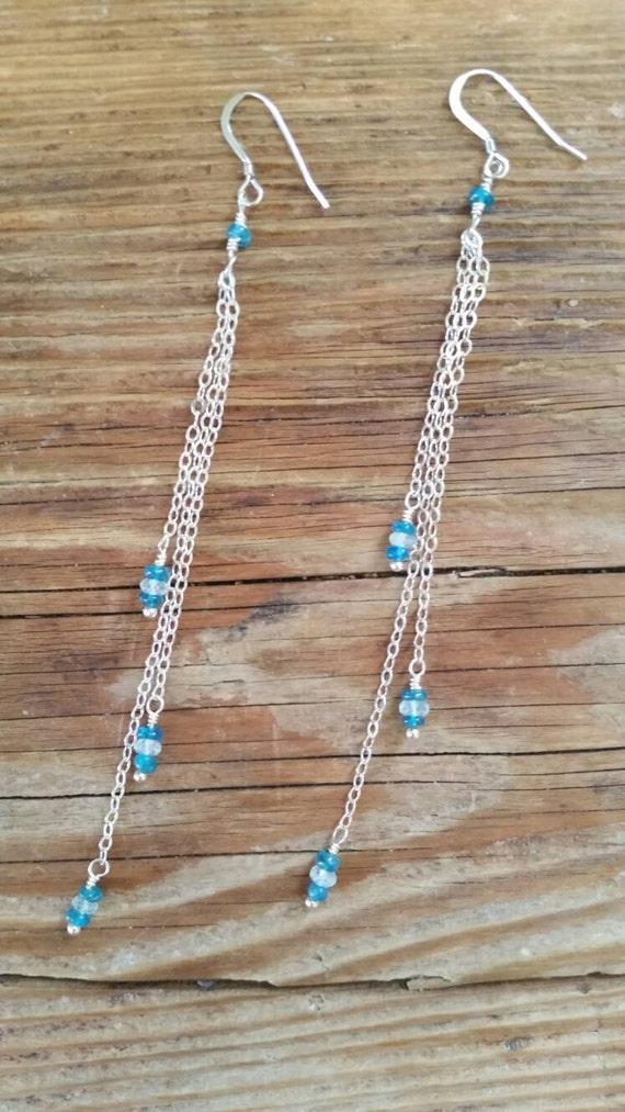 Aquamarine and apatite dangle earrings