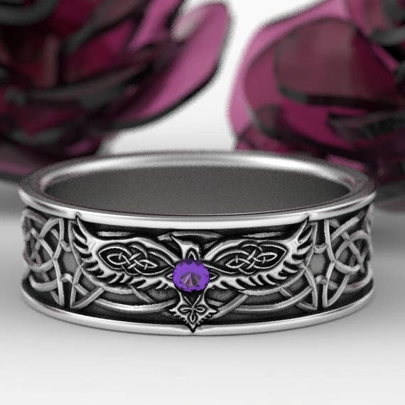 Sterling Silver Celtic Raven Ring with Amethyst, Mens Wedding Band, Raven Jewelry, Celtic Knot Ring, Custom Size 1161
