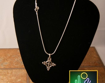 Sterling Silver Gothic Cross Pendant Large 5.5gm 18 inch Sterling 2mm Snake Chain VINTAGE