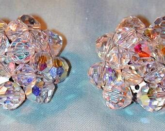 Vintage Large Aurora Crystal Cluster Earrings  Clip Back