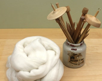 Australian Merino Wool Roving - 15.5 Micron - Undyed Fiber for Spinning or Felting (4oz)