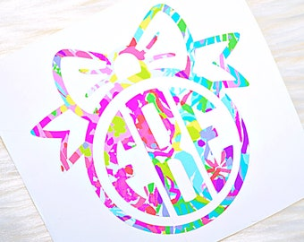 Bow Circle Monogram Vinyl Decal - Lilly Pulitzer Inspired