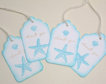 10 Wedding Tags for Favors - Aqua Beach Seashore Destination Wedding Favor Tags or Bridal Shower Tags - Seashell Tags - Thank You Tags