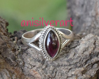 Garnet  Ring, Garnet Stone Ring, Gypsy Ring, Statement Rings, Solid 925 Sterling Silver Rings,Personalised, Gift