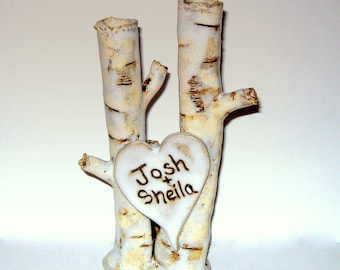 Custom Wedding cake topper handbuilt pottery birch clump with personalized heart by Earth N Elements Pottery