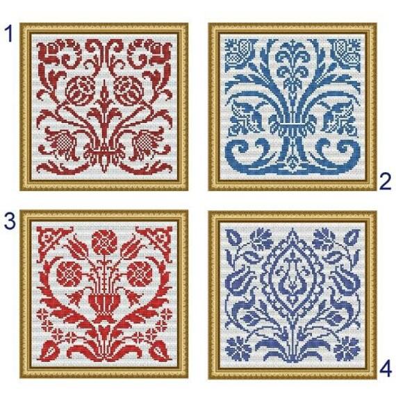 Art Nouveau Motifs Flowers Samplers Monochrome Counted Cross Stitch ...