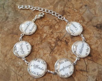 Harry Potter spells book page bracelet