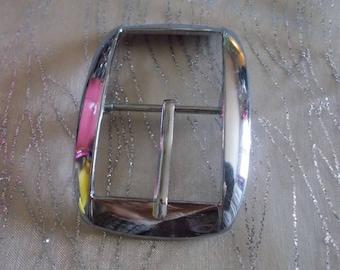 Silver rectangular belt buckle