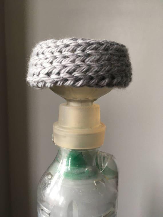 large aerokat feline asthma inhaler knit cover silver gray