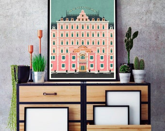 Grand Budapest Hotel vintage Poster, Grand Budapest Hotel Minimalist print, Wes Anderson Art, Wes Anderson Print, Grand Budapest  Movie Art