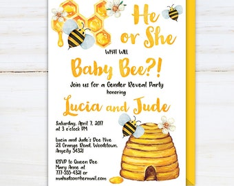 Bee Gender Reveal Invitation, What will Baby-Bee Gender Reveal Party Invite, Bumble Bee Honey Bee Sweet Ba-bee Printable Invitation