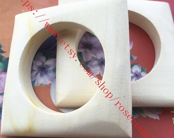 2pcs 96x96x18mm original Square bangle wood bracelets findings--unfinished(inner diameter is approx 68mm)