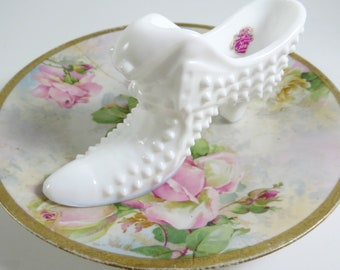 """Vintage Hobnail MILK GLASS Slipper by FENTON, White Glass Shoe with Lion or Cat Head, 6 1/2"""", Circa 1960's"""