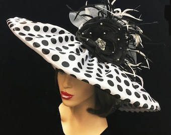 Large brim Polka Dot Derby hat