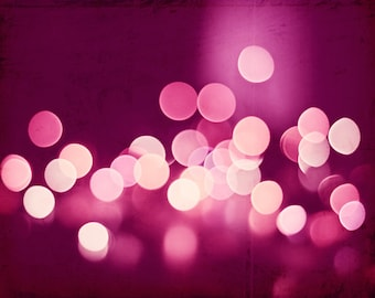 "Pink Abstract Photography - dark pink bokeh print, valentines day picture, sparkle lights photo, sparkly wall art modern, ""Pink Sparkle"""