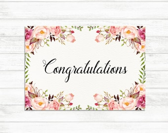 Printable Congratulations Card, Floral Congrats Card, Graduation Card, Graduation Congratulations, Card Instant Download, Floral Card