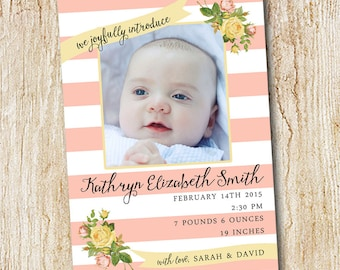 Photo Birth announcement Card - Digital file or Printed Cards - Girl's Birth Announcement- pink stripes floral