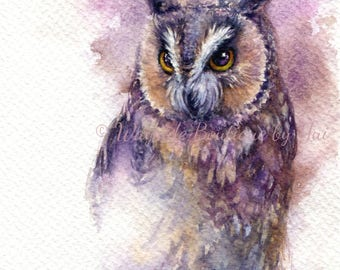 Horned owl - ORIGINAL watercolor painting 7.5x11 inches