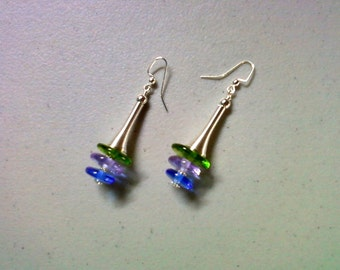Green, Lavender and Cornflower Blue Earrings (1339)