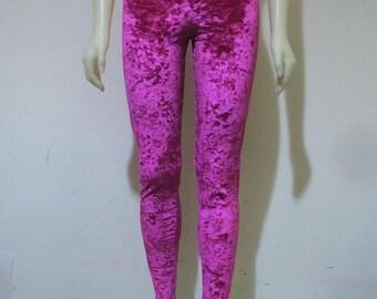 2 LEFT Pink Crushed Velvet Leggings