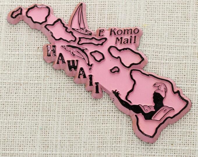 "Hawaii Vintage State Magnet Pink Travel Souvenir Tourism Summer Vacation Memento | Aloha USA America Fridge | ""E Komo Mai!"" 5S"