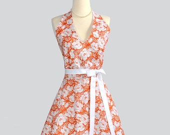 SALE 25% OFF Halter Womens Apron - Handmade Full Hostess Apron in Fall Thanksgiving Orange and White Floral