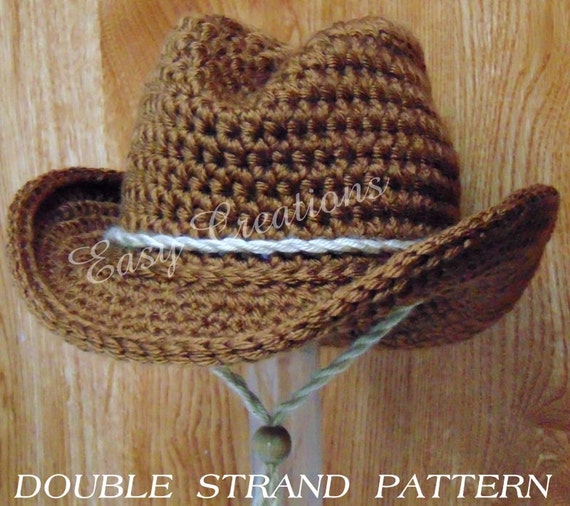 Double Strand Baby Cowboy Cowgirl Hat Boy Girl Crochet Pattern