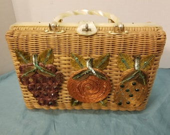 Vintage Faye Mell Design by Fleurette Inc., Miami, Wicker Handbag Carryall Purse with Lucite Handles and Closing Clasp, Fruit Embellishment