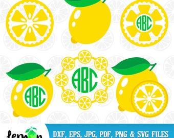 Lemon SVG, Lemon Monogram, Lemon Summer DXF, Lemonade Monogram,  Lemon Lime SVG,  Instant Download  94