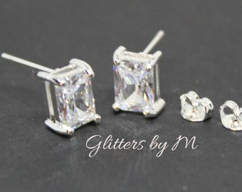 Clear April Birthstone Color Rectangle Stud Earrings