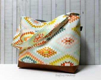 READY To SHIP - Aztec In Desert with Vegan Leather - Messenger Tote Bag /  Diaper Bag - Medium / Large Bag  SALE
