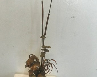 W. Catts 1976 Copper Sculpture with Mushrooms & Cattails