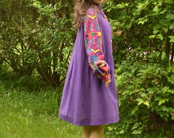 Fred Leighton Dress 70s Guatemalan Tent Dress Purple 44 Inch Waist