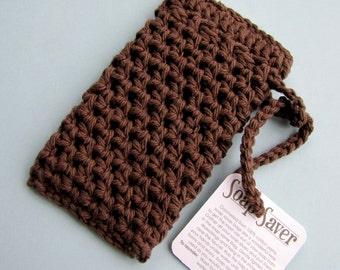 Cocoa Soap Saver 100% natural cotton yarn brown crocheted soap bag