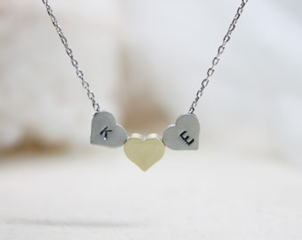 Personalized initial Three Heart Necklace - S2306 -1