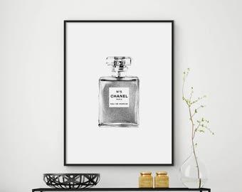 Sale!!! Chanel 5 Print, Chanel Bottle Poster, Fashion Print, Chanel Bottle Print, Fashion Wall Art, Chanel 5 Perfume Bottle