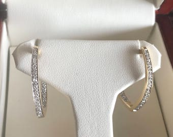 Sale!! Gorgeous Diamond Front & Back 10K Gold Hoop Earrings