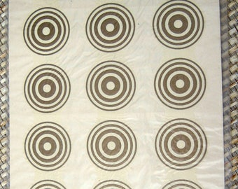 Meyercord Decals with Gold Concentric Circles Design
