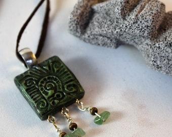 Hand made green handmade original polymer Clay