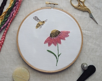Coneflower and Bee Complete Embroidery Kit