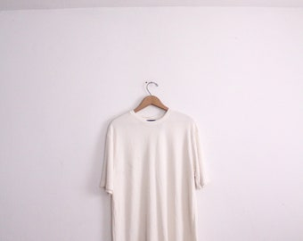 Sporty White 90s Ribbed Tee