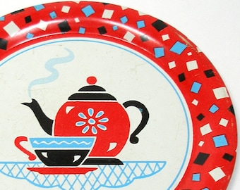 60's Tin Toy Tea plate, Coffee for One, red, white & blue.